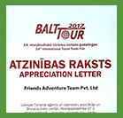 Balta Tour Participation Certificate - 2017